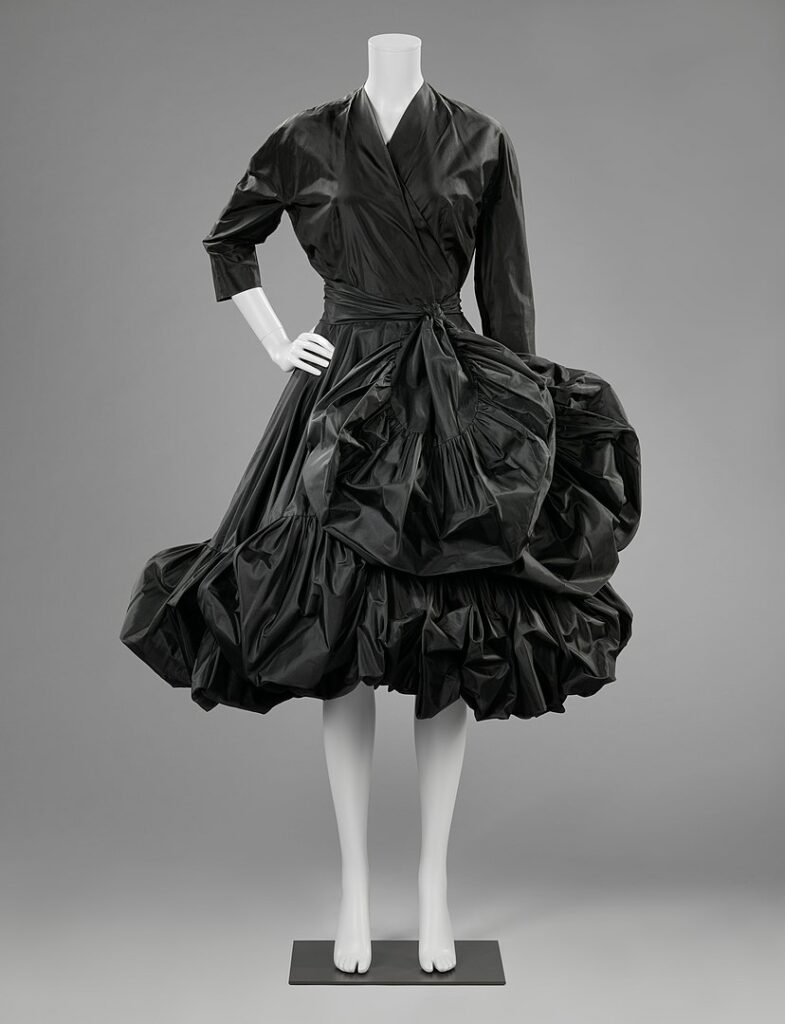 Black taffeta cocktail dress designed by Balenciaga, 1951