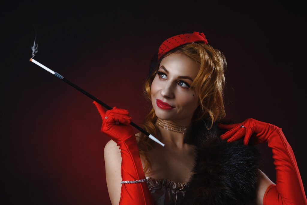 Typical professional burlesque costumes include a variety of accessories.