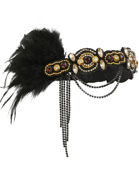 1920s Great Gatsby Accessory Chain Flapper Dress Accessories Black Feather Women Halloween Accessory Flapper Headpieces