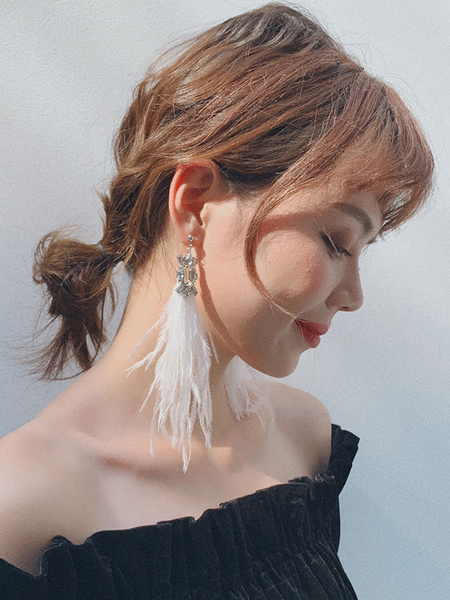 1920s Great Gatsby Accessory Flapper Dress Accessories White Feather Rhinestones Earring Halloween