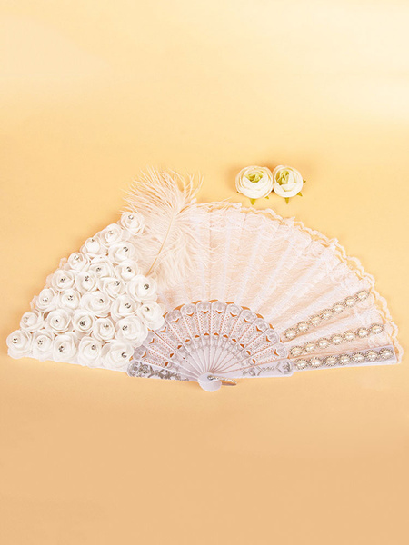1920s Great Gatsby Accessory Flapper Dress Accessories White Feathers Flowers Lace Fan Halloween