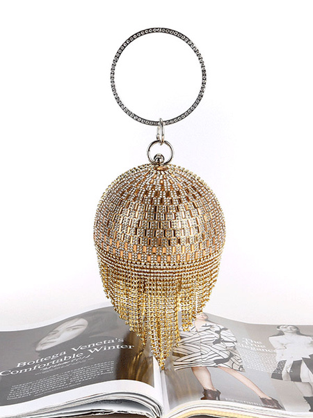 1920s Great Gatsby Accessory Flapper Dress Blond Rhinestones Chain Women Clutch Bags