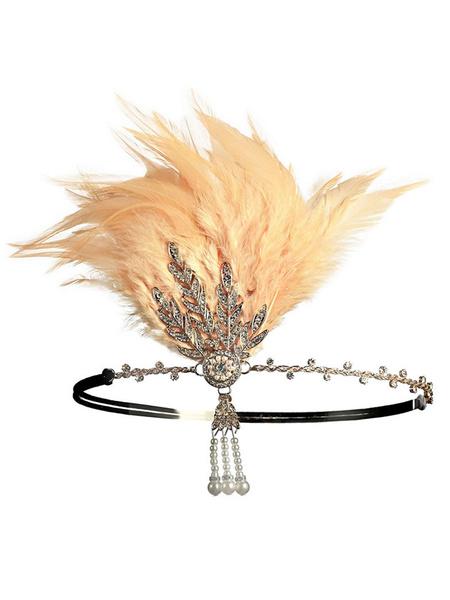 1920s Great Gatsby Accessory Flapper Dress Headband Red Feathers Rhinestone Hairpiece