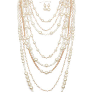 1920s Great Gatsby Accessory White Pearl Layered Necklace Flapper Dress Accessories