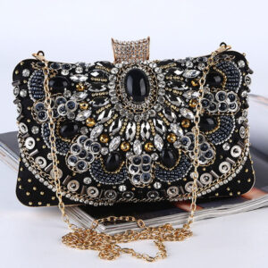 1920s Great Gatsby Clutch Bag Black Rhinestones Gem Sequins Flapper Dress Accessories