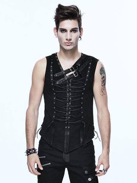 Black Gothic Costume Grommets Rivet Lace Up Metallic Buckle Punk Retro Costumes