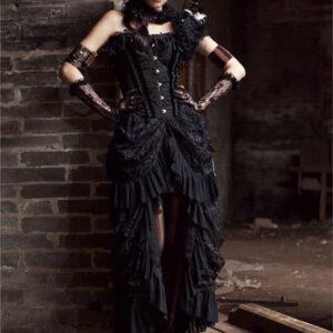 Black Gothic Costume Ruffles Lace High Low Women Cotton Retro Dress Halloween