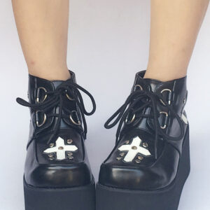 Black Lolita Shoes Platform Lace Up Gothic Lolita Pumps