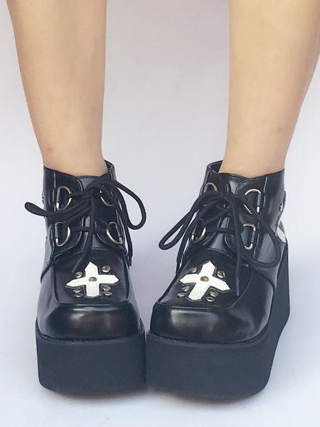 Black Lolita Shoes Platform Lace Up Gothic Lolita Pumps