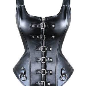 Black Steampunk Bustier Metallic Rivet Women Retro Costume