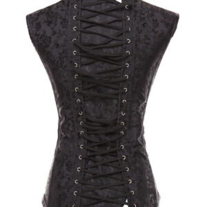 Black Steampunk Costume Metal Details Lace Up Corset For Women Halloween