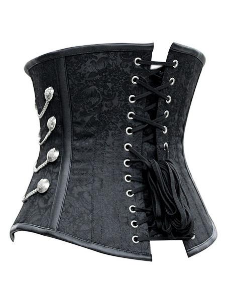 Black Steampunk Costume Metallic Chain Jacquard Retro Corset For Women