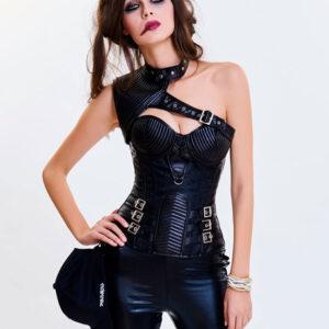 Black Steampunk Costume Vintage Women's Asymmetrical Neckline Corset Waist Trainer Halloween