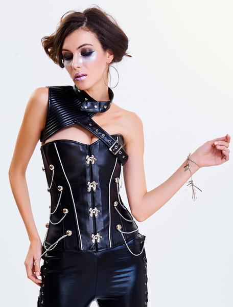 Black Steampunk Costume Vintage Women's Asymmetrical Neckline Overbust Corset Halloween