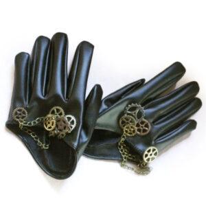 Black Steampunk Gloves Unisex PU Gears Vintage Gloves Halloween
