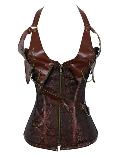 Black Steel Boned Steampunk Halterneck Corsets With PU Trim and Chains