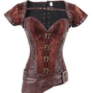 Brown Steampunk Corset Metallic Jacquard Zipper Women Retro Costume