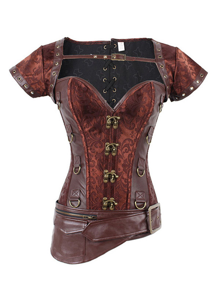Brown Steampunk Corset Metallic Jacquard Zipper Women Retro Costume