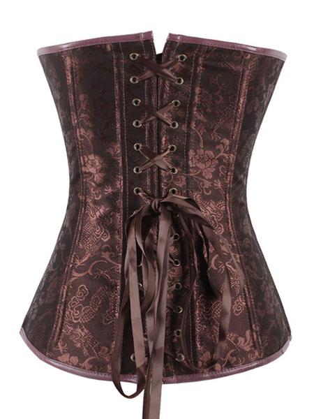 Brown Steampunk Corset Rivet Grommet Metallic Buckle Zipper Women Vintage Costume