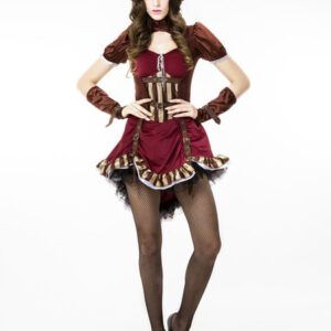 Burgundy Steampunk Costume Lace Up Metallic Buckle Vintage Clothing For Women Halloween