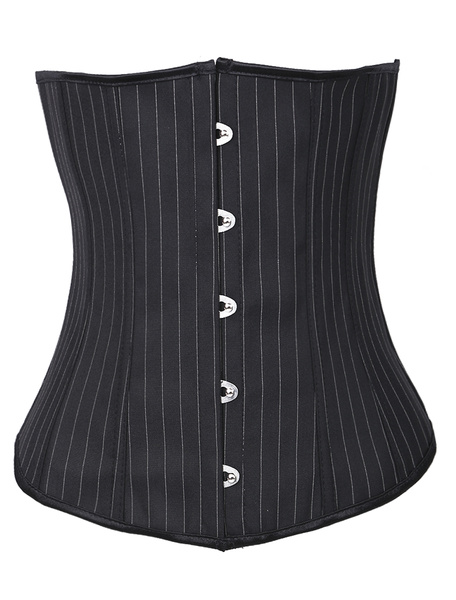 Charming Black Strips Cotton Plastic Boned Womens Corsets