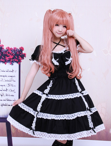 Cotton Black Lace Bow Short Sleeves Gothic Lolita Dress