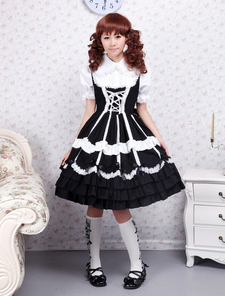Cotton Black Lace Ties Gothic Lolita Dress