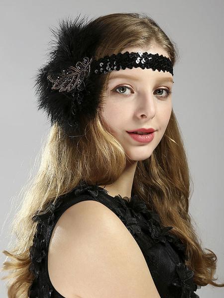 Flapper Dress Accessories 1920s Great Gatsby Accessory Feathers Sequin Rhinestone Women's Retro Costume Headband