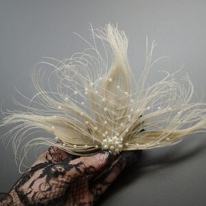 Flapper Dress Accessories 1920s Great Gatsby Accessory White Net Pearls Feather Pearl Flapper Headpieces Halloween