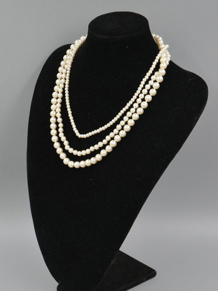 Flapper Dress Accessories 1920s Great Gatsby White Pearl Flapper Layered Necklace