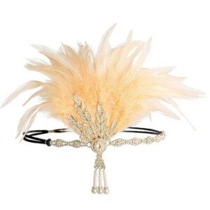 Flapper Dress Accessories Feather Rhinestone Halloween Black Flapper Headband 1920s Great Gatsby Accessory