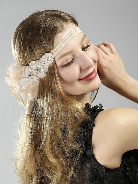 Flapper Dress Accessories Nude Feathers Bead 1920s Great Gatsby Accessory Women's Flapper Headpieces