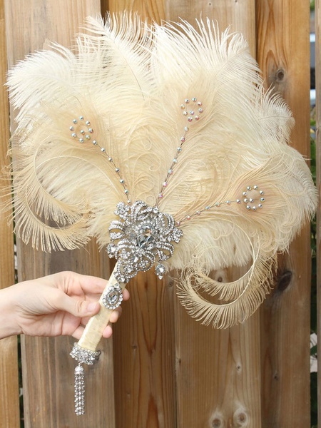Flapper Dress Accessories Rhinestone Feather 1920s Great Gatsby Accessory Retro Fan Halloween