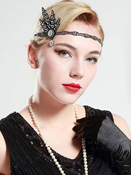 Flapper Dress Accessories Rhinestone Gems 1920s Great Gatsby Accessory Green Metal Women's Halloween Flapper Headpieces