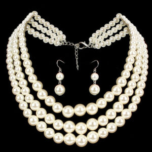 Flapper Dress Accessories White Pearls Earring With Layered Necklace Flapper Girl 1920s Great Gatsby Accessory Halloween