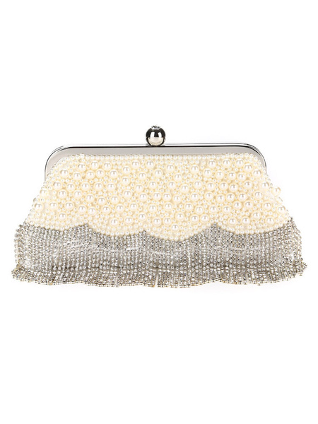 Flapper Dress Accessories Women Clutch Bag Silver Fringe Rhinestones Pearl 1920s Great Gatsby Accessory