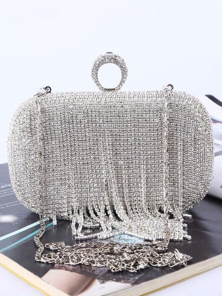 Flapper Dress Clutch Bag 1920s Great Gatsby Accessory Silver Chain Rhinestones Women Cross Body Bag