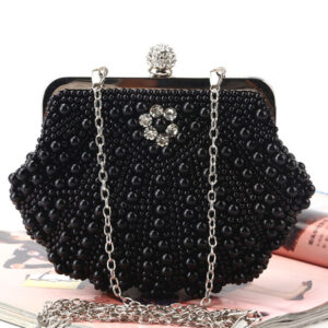 Flapper Dress Handbag 1920s Great Gatsby Accessory Ecru Peals Studded Chains Satin Inner Shoulder Cross Chain Women's Clutch Bags Flapper Handbag