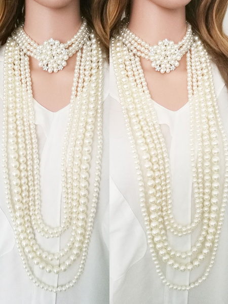 Flapper Dress Necklace 1920s Great Gatsby Accessory Pearls Women Multi Layer Necklace