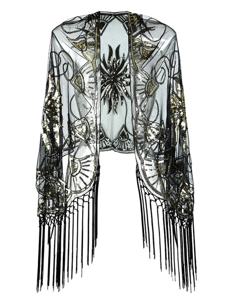 Flapper Dress Shawl Fringe Beaded Sequin 1920s Great Gatsby Accessory Retro Costume Accessories