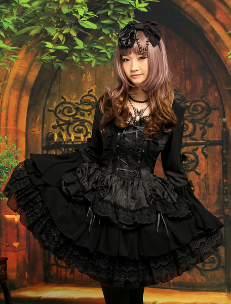 Gothic Black Lolita One Piece Dress Long Hime Sleeves Lace Up Layers Lace Trim