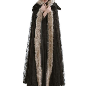 Gothic Cloak Faux Fur Lace Women Winter Cover Ups Halloween Costumes