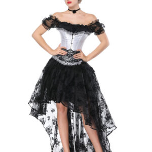 Gothic Costume Halloween Women Black Lace Short Sleeve Top Corset And Asymmetrical Skirt