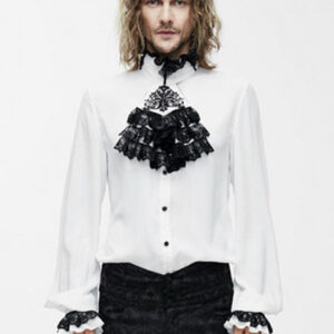 Gothic Costume Shirts Men Victorian Steampunk Long Sleeve White Devil Ruffles Top Halloween