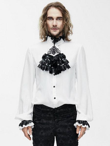 Gothic Costume Shirts Men Victorian Steampunk Long Sleeve White Devil Ruffles Top Halloween