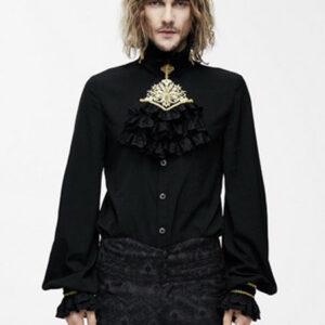 Gothic Costume Shirts Steampunk Men Ruffles Long Sleeve Black Slim Fit Top Halloween
