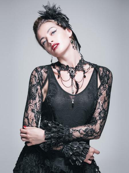 Gothic Costume Top Halloween Lace Long Sleeve Tassels Bolero Jacket Top