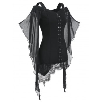 Gothic Criss Cross Lace Insert Butterfly Sleeve T-shirt
