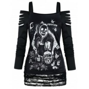Gothic Death Print Ripped Lace Panel Top