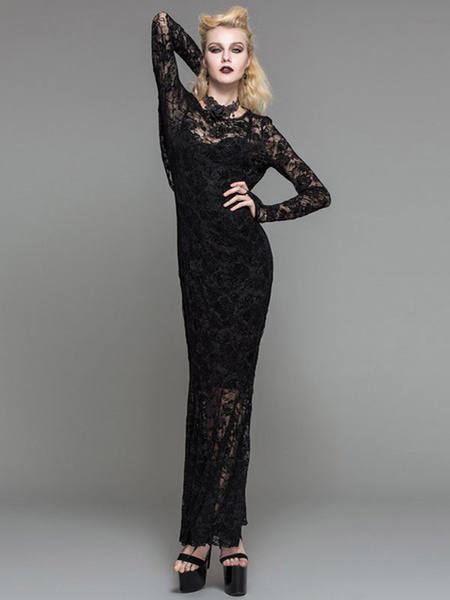 Gothic Dresses Halloween Costume Women Lace Long Sleeve Backless Maxi Dress
